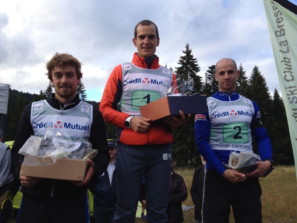 Le podium des seniors : 1. Bastien Poirrier ; 2. Igor Cuny ; 3. Mathieu Prud'Homme.