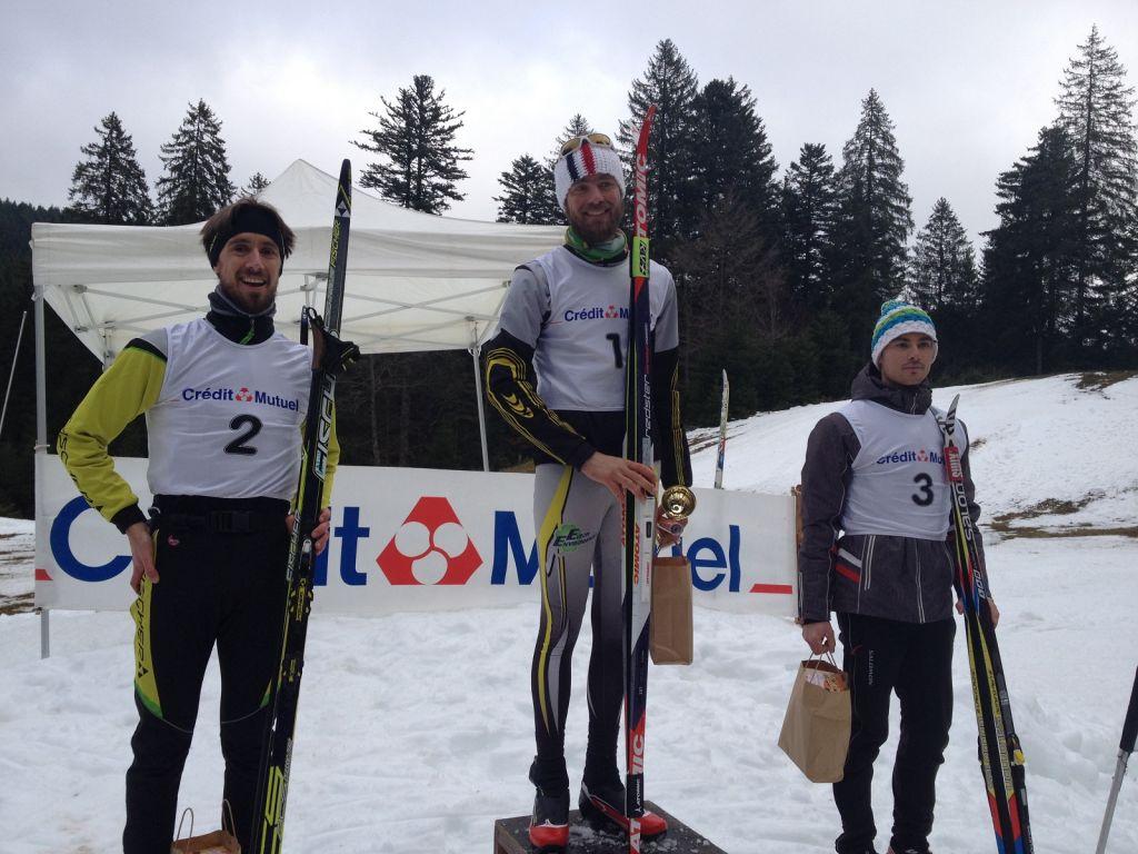 Jérémy Weibel (au centre) vainqueur devant Guillaume Lalevée et Jérôme Fussner chez les hommes.