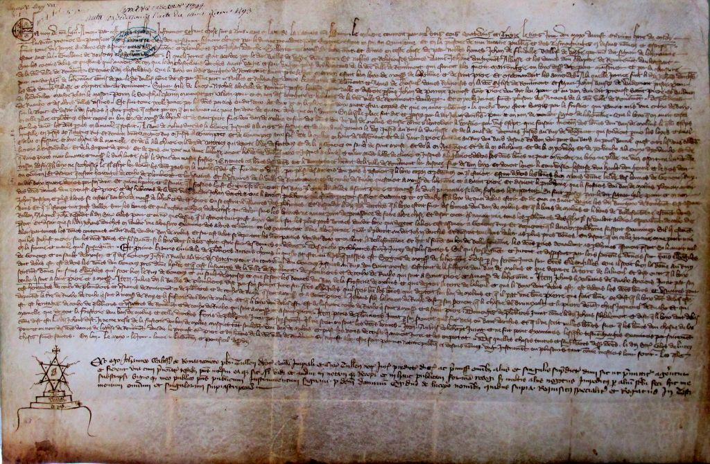 Droits des habitants de Remiremont sur les forêts du Ban de Moulins, 1393. Archives municipales de Remiremont, DD 145.