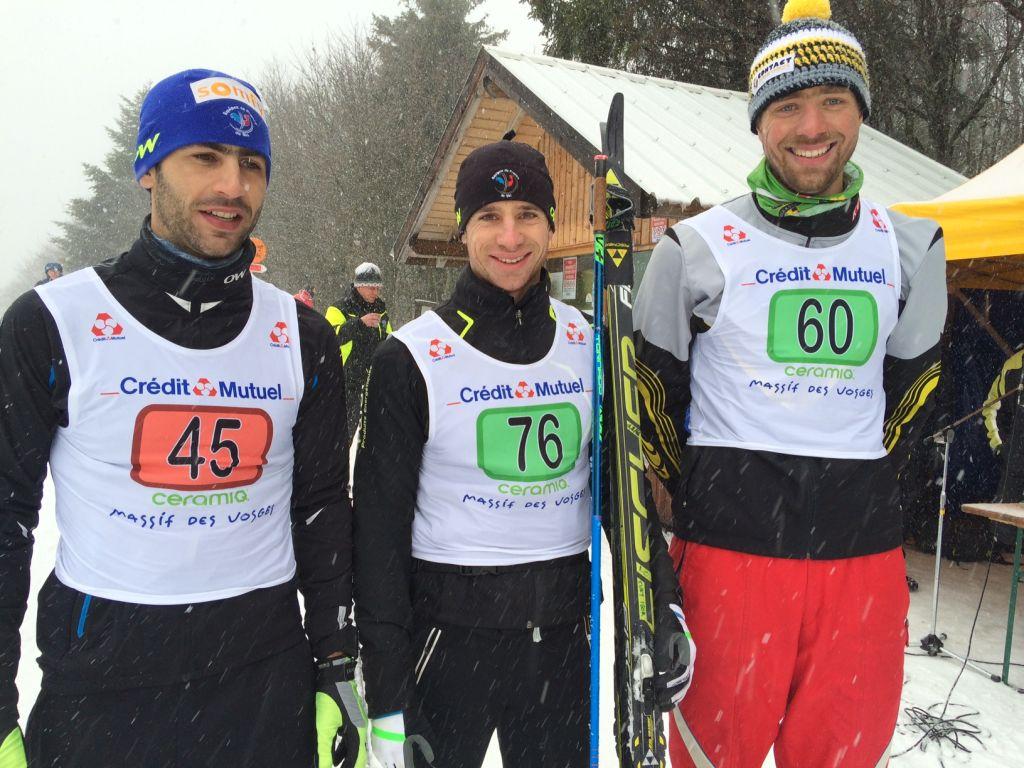 Igor Cuny (au centre) vainqueur devant Guiillaume De Nardin et Jérémy Weibel.