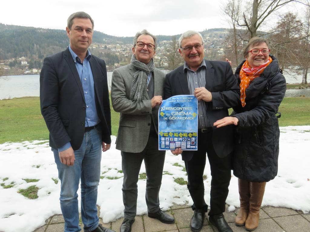 e maire gérômois Stessy Speissmann, Denis Blum, Hervé Badonnel et l'adjointe à la culture Anne Chwaliszewski.