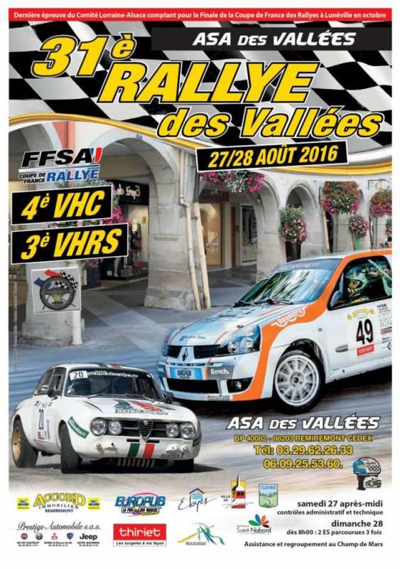 Affiche Rallye Régional des Vallées 2016
