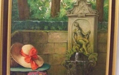 La fontaine de Neptune vers 1920, huile sur toile