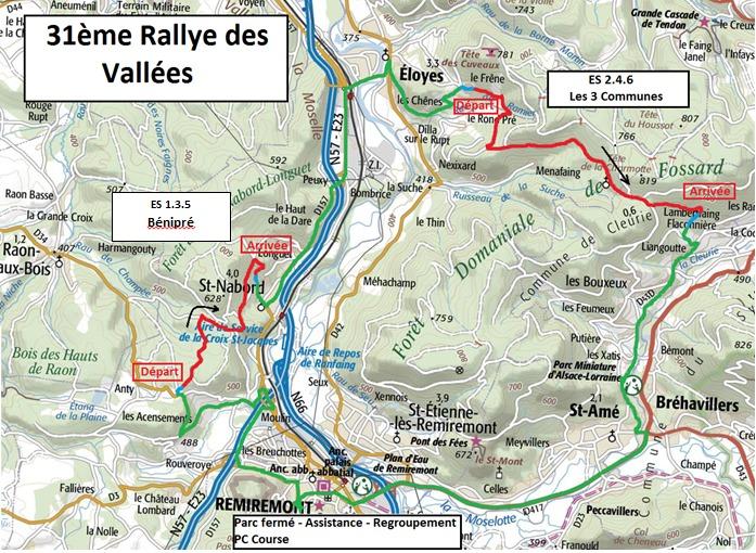 carte génrale des spéciales rallye régional des vallées 2016