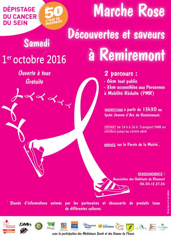 Affiche marche rose remiremont 2016