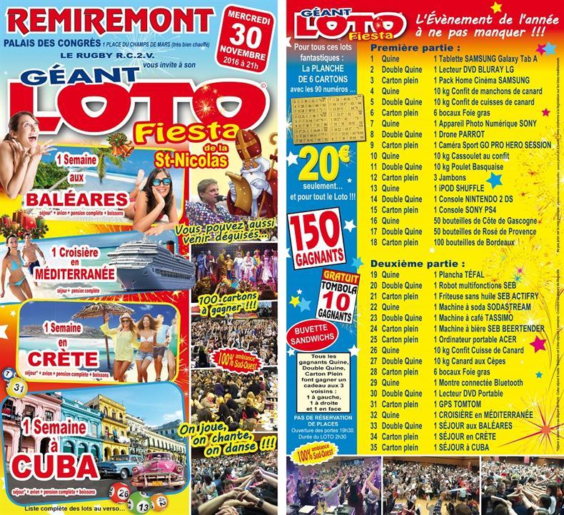 Loto fiesta de la St. Nicolas avec le rugby RC2V