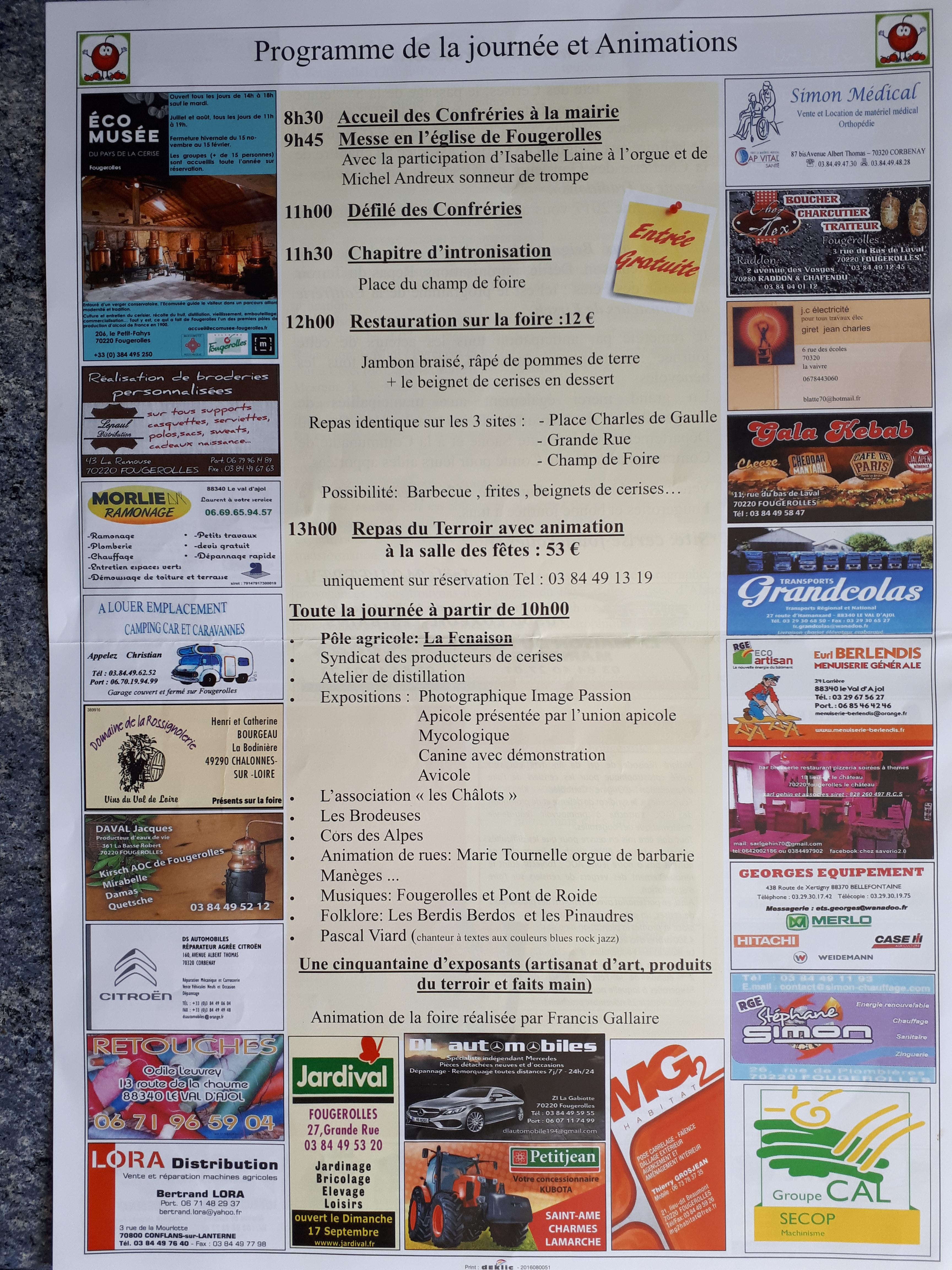 Fougerolles foire aux beignets de cerises dimanche 17 septembre 2017 remiremont info - Entree gratuite foire de lyon 2017 ...