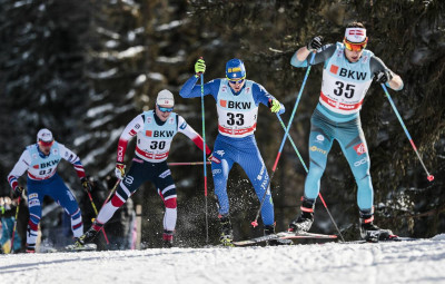 01.01.2018, Lenzerheide, Switzerland (SUI): Sindre Bjoernestad Skar (NOR), Dietmar Noeckler (ITA), Adrien Backscheider (FRA), (l-r)  - FIS world cup cross-country, tour de ski, pursuit men, Lenzerheide (SUI). www.nordicfocus.com. © Modica/NordicFocus. Every downloaded picture is fee-liable.