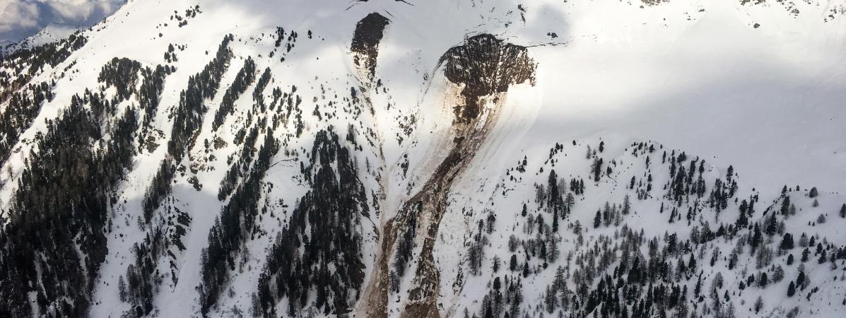 Les lieux de l'avalanche dans le Vallon d'Arbi, le 16 mars 2018, en Suisse. (POLICE CANTONALE VALAISANNE).