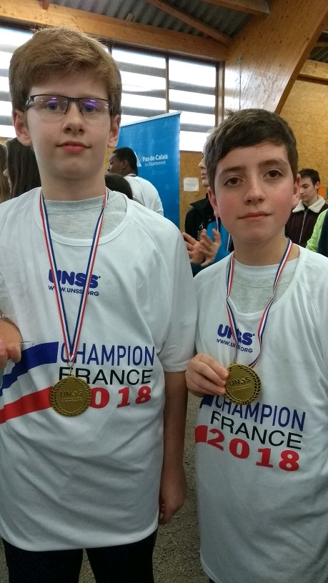 Jean et Alban champions de France UNSS 2018