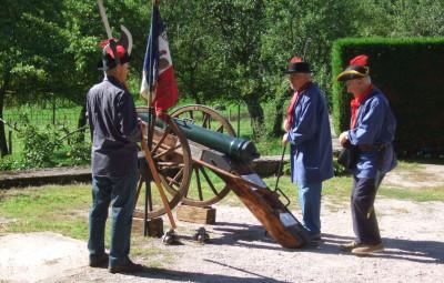 Lors d'une reconstitution sur le site de La Couare.