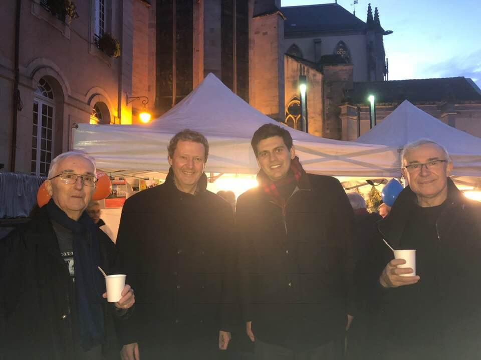 de g à d, le père Paul Thomas, Monseigneur Didier Berthet,_ le maire Jean HImgray et l'Abbé Claude Durupt