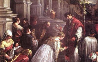 détail de «Saint Valentin baptise Sainte Lucile», de Bassano Jacopo