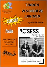 Concert AC'CESS - Tendon - 28 juin 2019