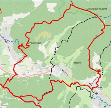 Carte des secteurs concernés entre Rupt-sur-Moselle et Ferdrupt