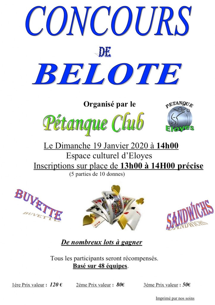 concours belote pétanque club