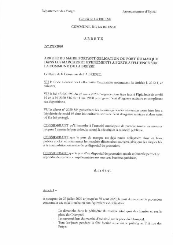 2020-07 Arrêté municipal Port du masque obligatoire-page-001