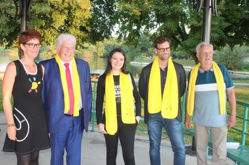 Lancement de la campagne vosgienne du téléthon par Claire Robieux, Nicolas Mathieu, Laëtitia Reynders, Christian Franqueville et Michel Geoffroy
